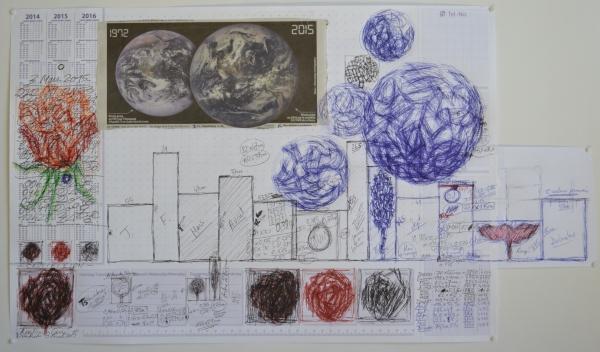 Mappemonde Tabula 9, stylo bille, stylo plume et collage sur papier, 41 x 71 cm