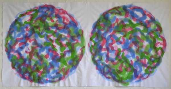 Mappemonde Peinture, acrylique sur tissu libre, 140 x 280 cm