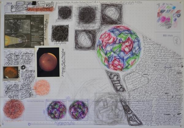 Mappemonde Tabula 10, stylo bille, stylo plume, graphite et collage sur papier, 41 x 60 cm.