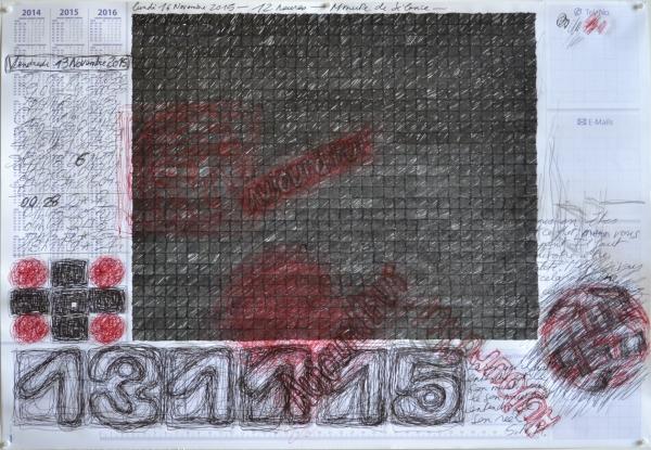 Mappemonde Tabula 11, stylo bille, stylo plume et graphite sur papier, 41 x 60 cm.