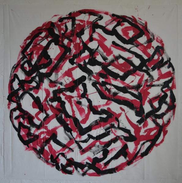 Mappemonde Peinture, 131115 (3), acrylique sur tissu libre, 180 x 180 cm