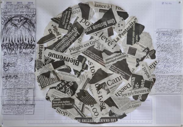Mappemonde Tabula 15, stylo bille et collage sur papier, 41 x 60 cm