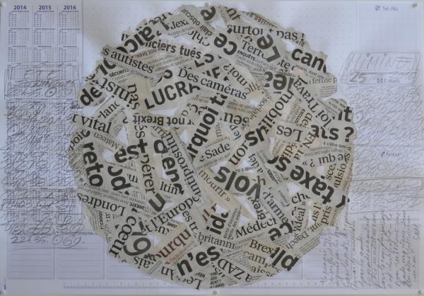 Mappemonde Tabula 16, graphite et collage sur papier, 41 x 60 cm