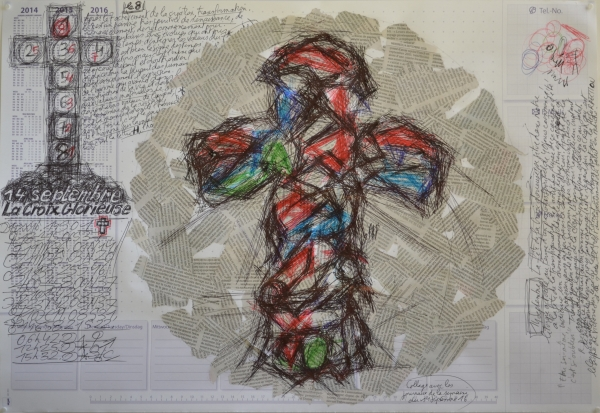 Mappemonde Tabula 17, stylo bille et collage sur papier, 41 x 60 cm