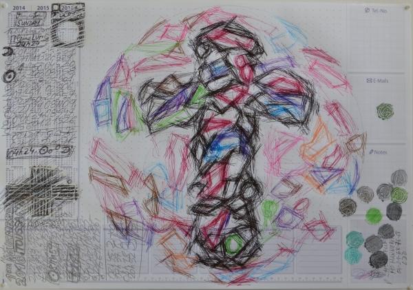 Mappemonde Tabula 18, stylo bille, graphite et crayon de couleur sur papier, 41 x 60 cm