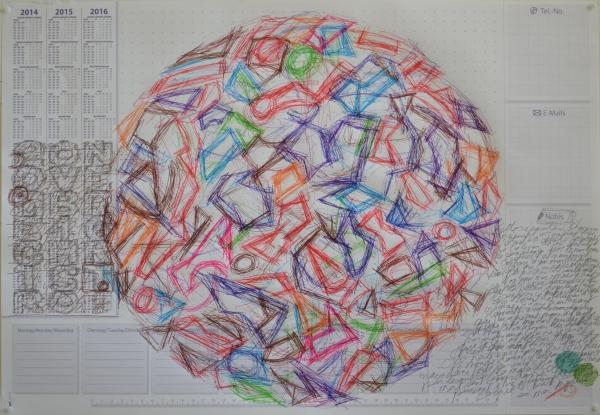 Mappemonde Tabula 19, stylo bille et crayons de couleur sur papier, 41 x 60 cm.