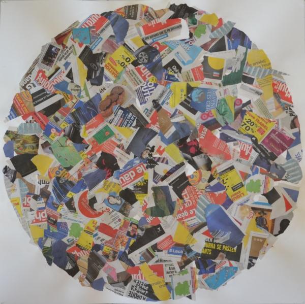 Mappemonde Collage 2, 100 x 100 cm.