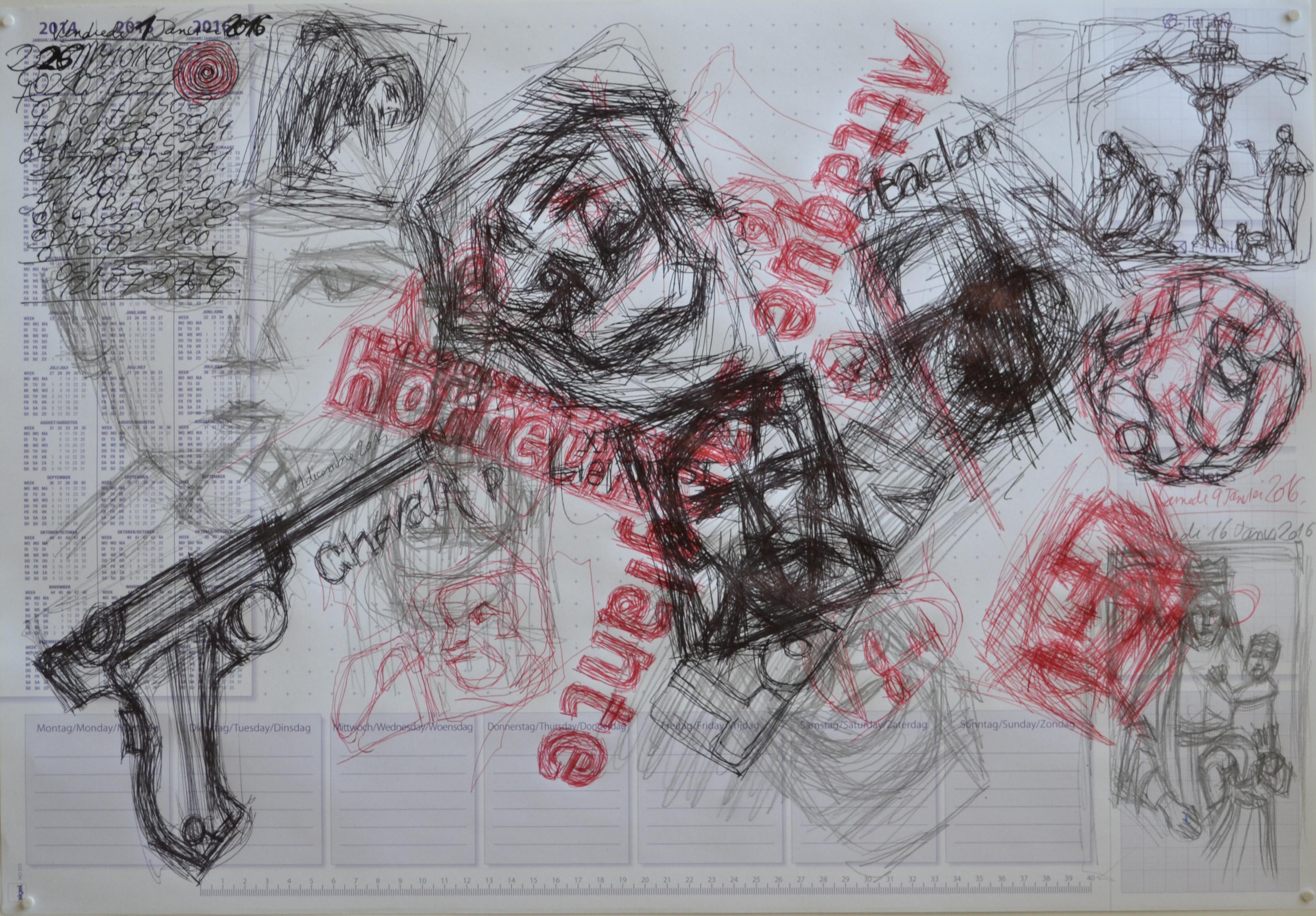 Mappemonde Tabula 12, stylo bille, stylo plume et graphite sur papier, 41 x 60 cm. Griffonnages sur les feuilles d