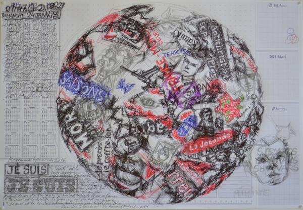 Mappemonde Tabula 13, stylo bille et graphite sur papier, 41 x 60 cm