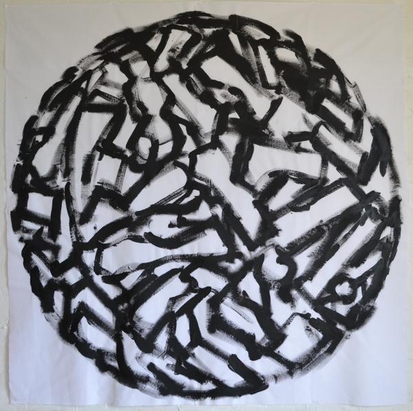 Mappemonde Peinture, acrylique sur tissu libre, 220 x 220 cm
