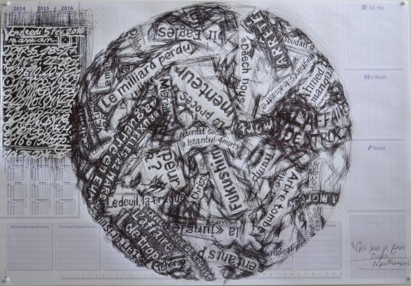 Mappemonde Tabula 14, stylo bille et correcteur sur papier, 41 x 60 cm