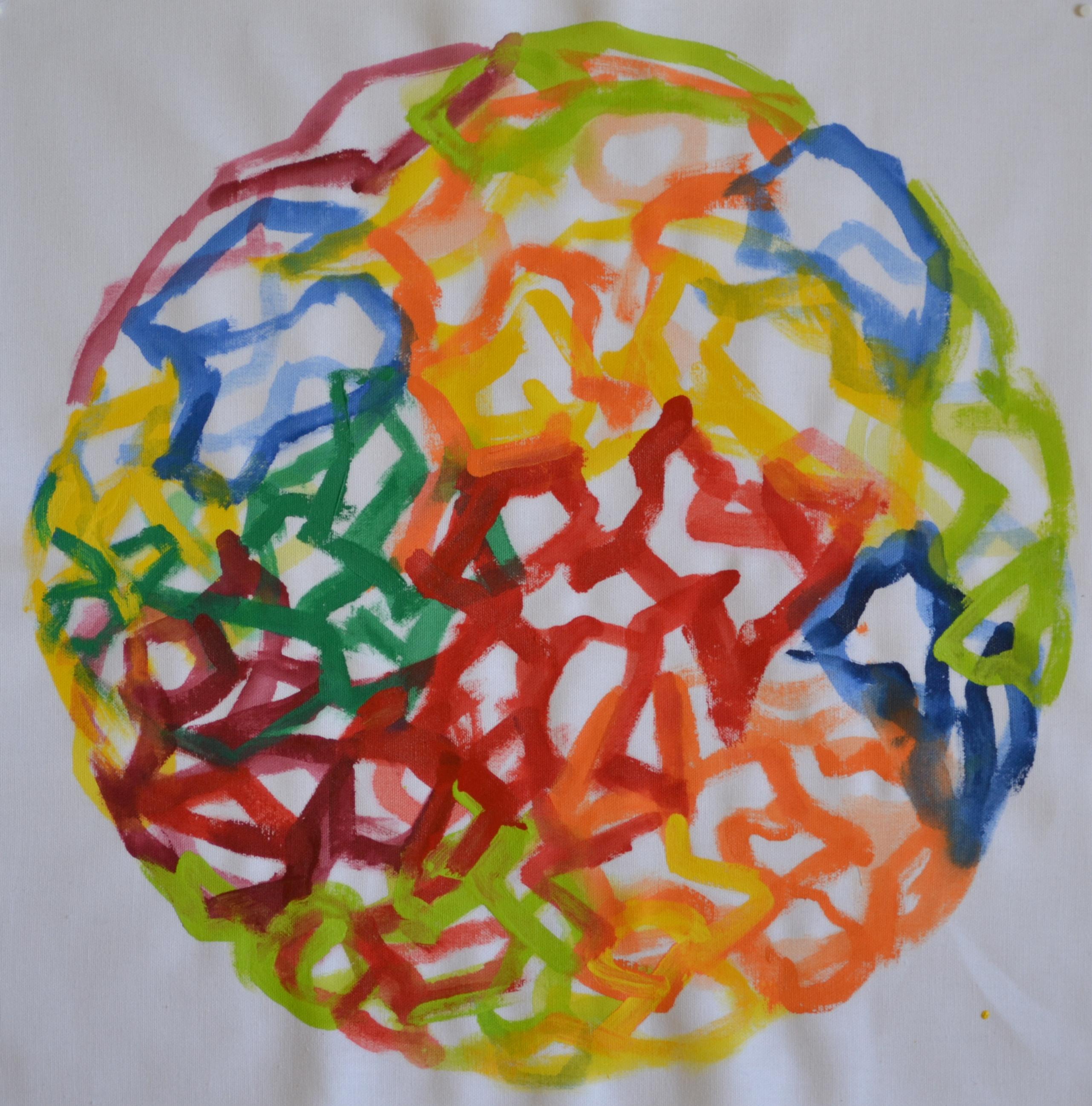 Mappemonde Peinture, acrylique sur tissu libre, 48 x 48 cm