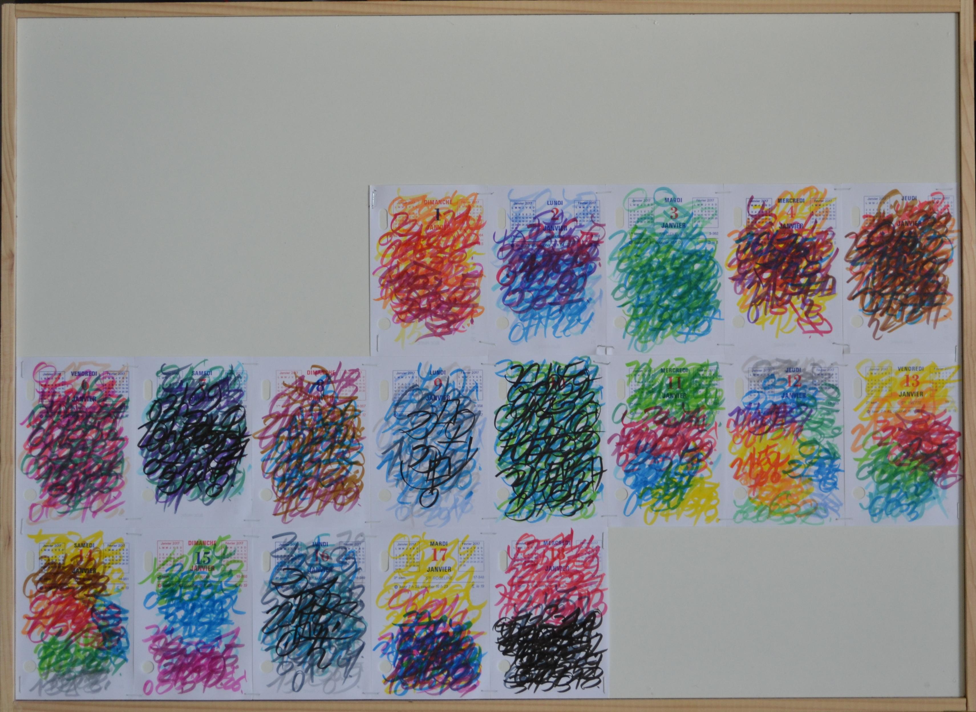 Mappemonde Ephéméride 2017, 1/13, Soleil dans le signe du Capricorne, crayon feutre sur papiers agrafés sur bois, 50 x 68 cm. Notation journalière, sur les feuilles 12 x 8 cm d