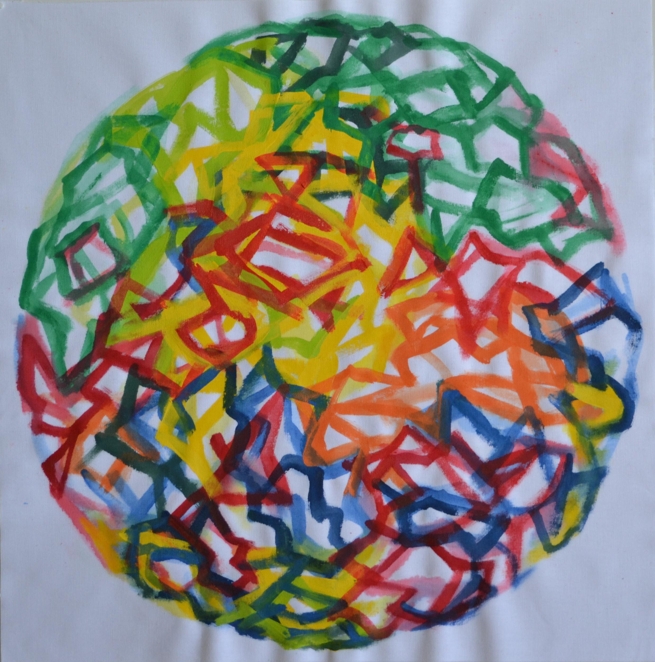 Mappemonde Peinture, acrylique sur tissu libre, 64 x 64 cm