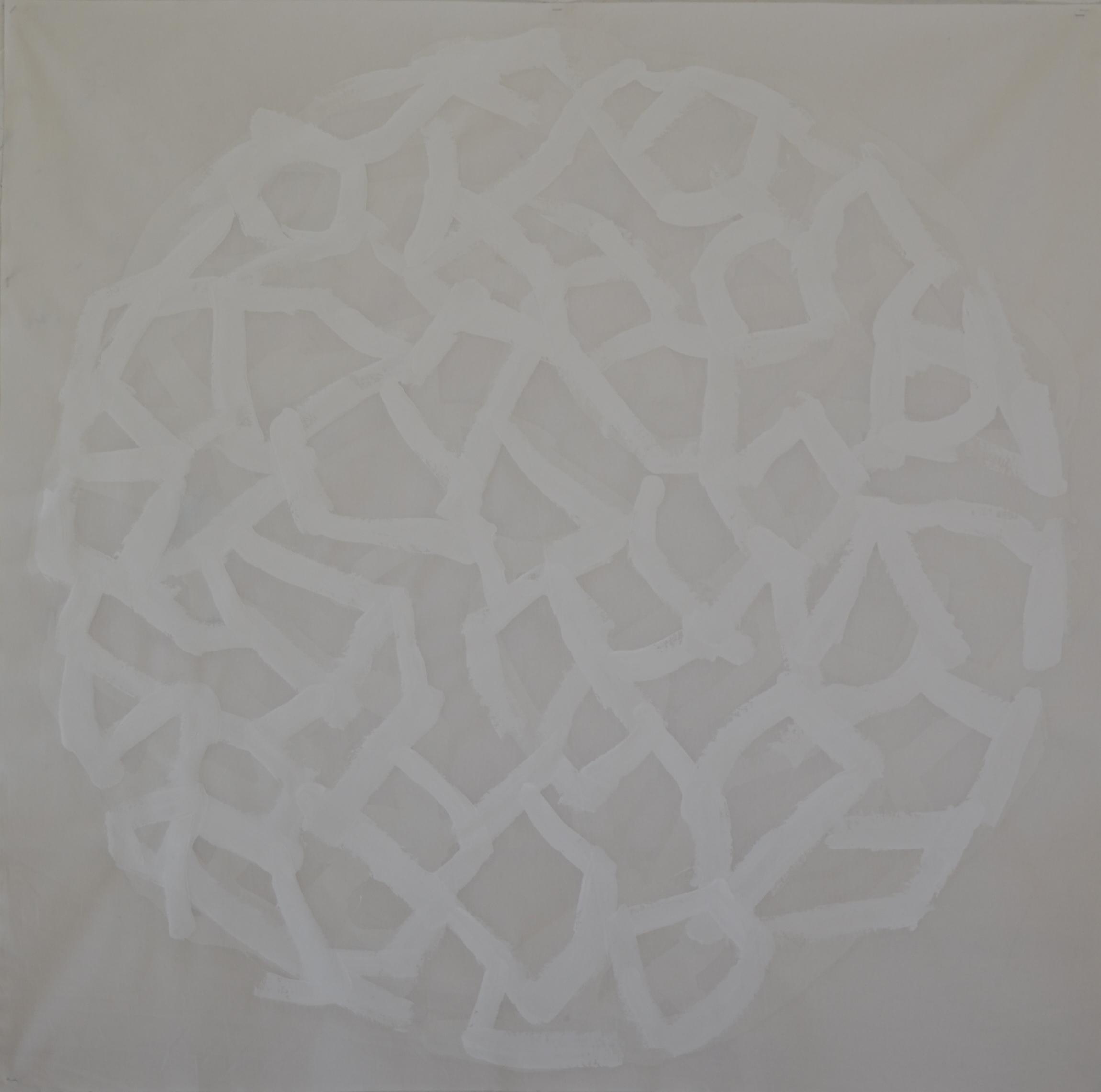 """Mappemonde Peinture, """"Hommage à K. Malevitch"""", acrylique sur tissu libre, 130 x 130 cm"""