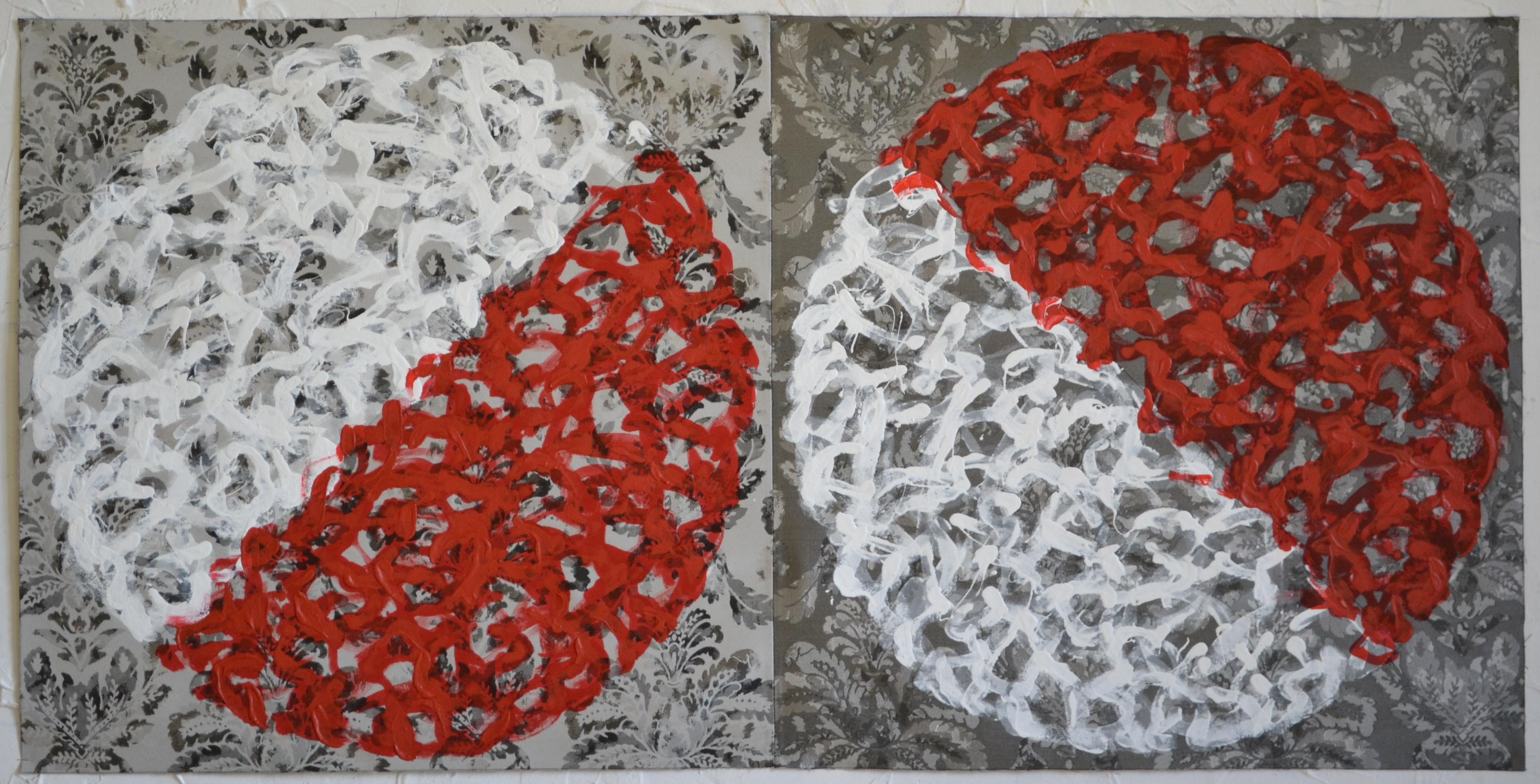 Mappemonde Peinture, acrylique sur tissu libre, 68 x 136 cm