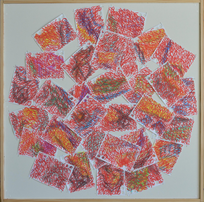 Mappemonde Ephéméride 2018, mois de Mars, 3/12, crayons de couleur et acrylique sur papiers agrafés sur bois, 59 x 59 cm.
