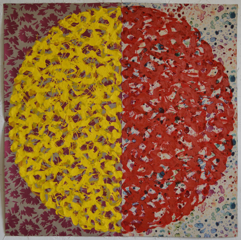 Mappemonde Peinture, acrylique sur tissu libre, 128 x 128 cm