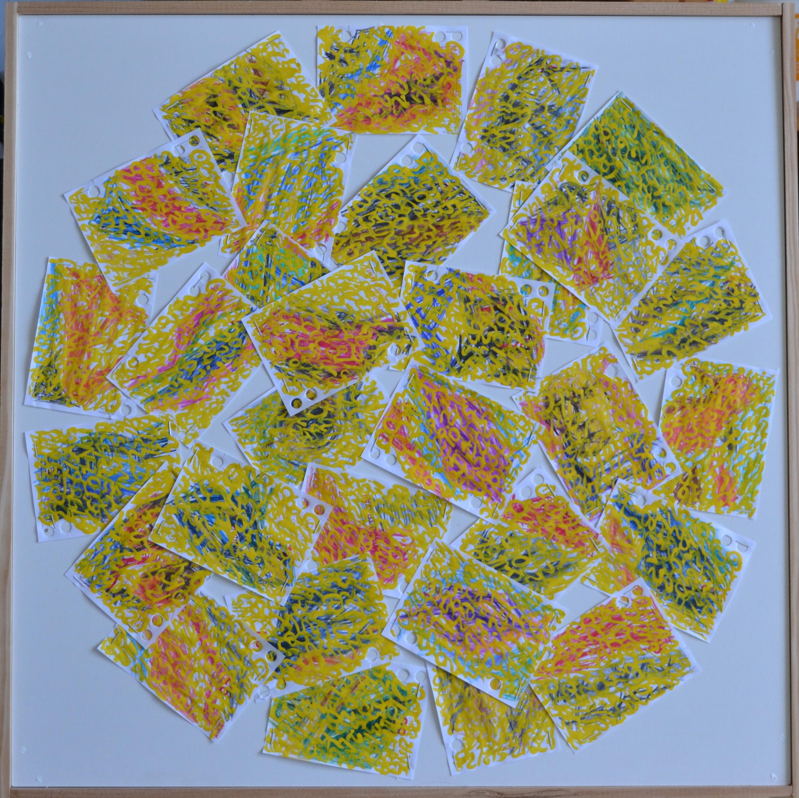 Mappemonde Ephéméride 2018, mois de Mai, 5/12, crayons de couleur et acrylique sur papiers agrafés sur bois, 59 x 59 cm.