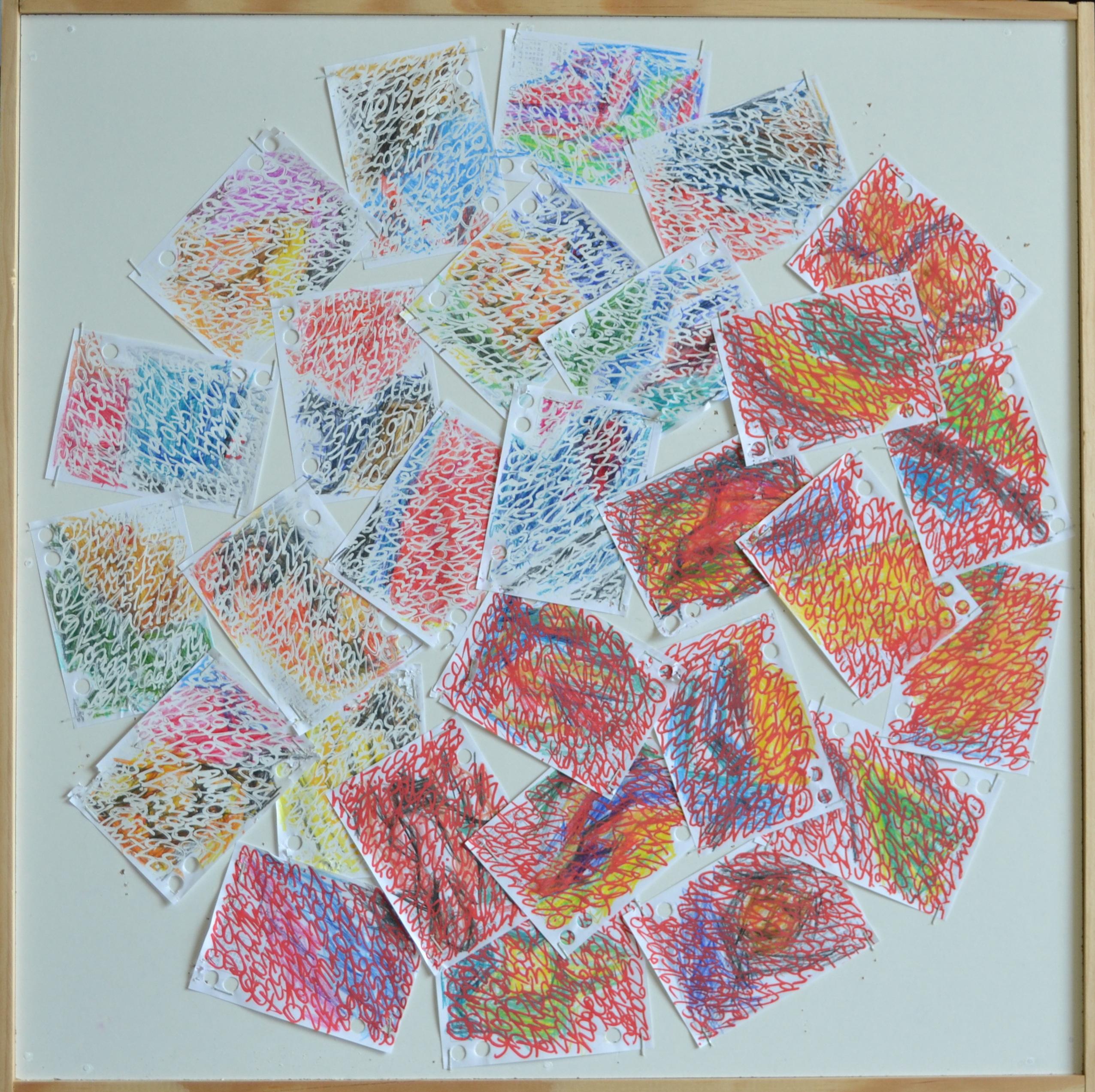 Mappemonde Ephéméride 2018, mois de Février, 2/12, crayons de couleur, stylo correcteur et acrylique sur papiers agrafés sur bois, 59 x 59 cm