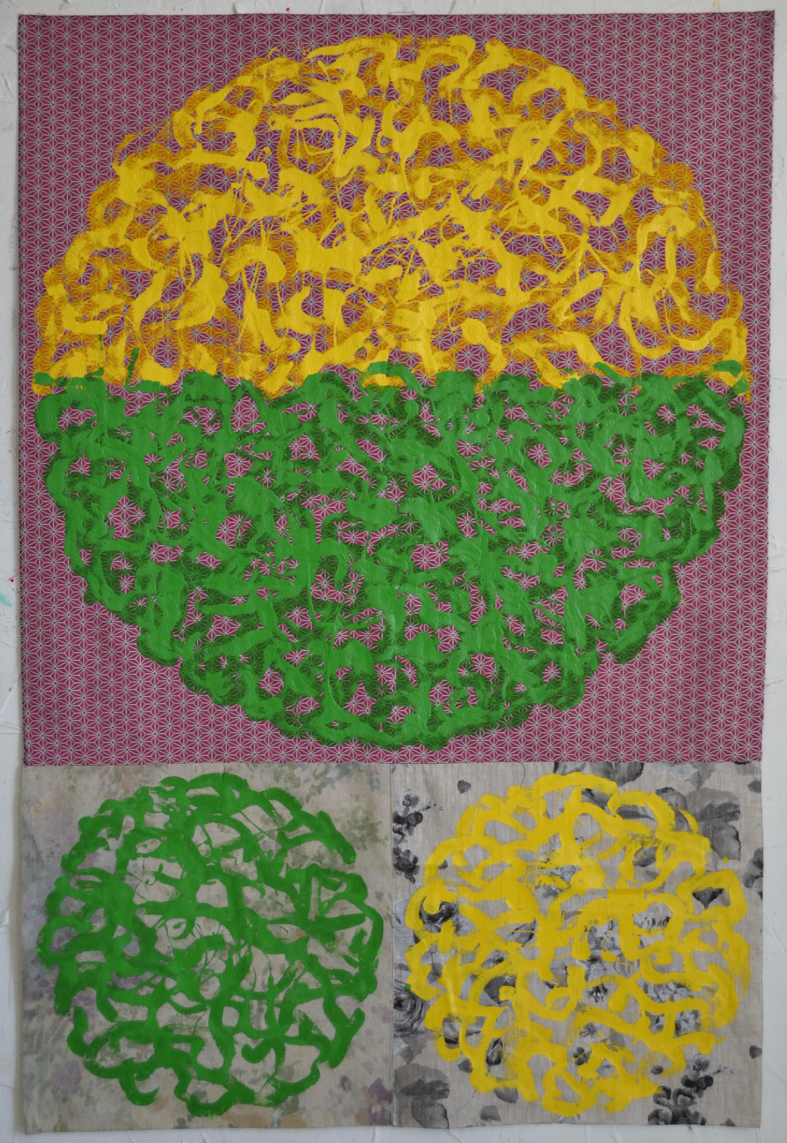 Mappemonde Peinture, acrylique sur tissu libre, 127 x 86 cm