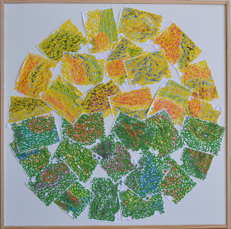 Mappemonde Ephéméride 2018, moi de Juin, 6/12, crayons de couleur et acrylique sur papiers agrafés sur bois, 59 x 59 cm.