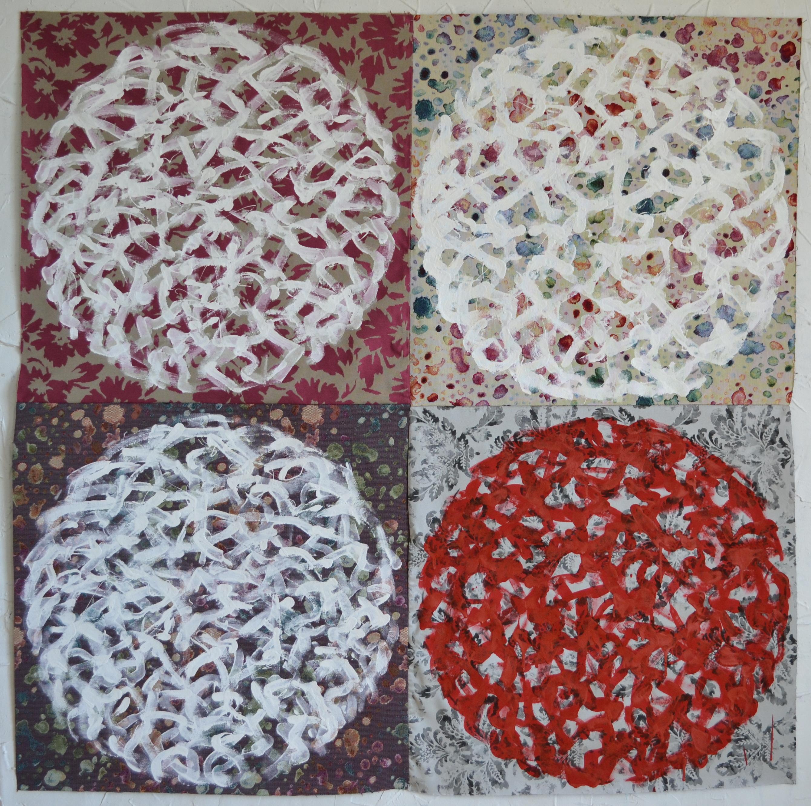 Mappemonde Peinture, acrylique sur tissu libre, 140 x 140 cm