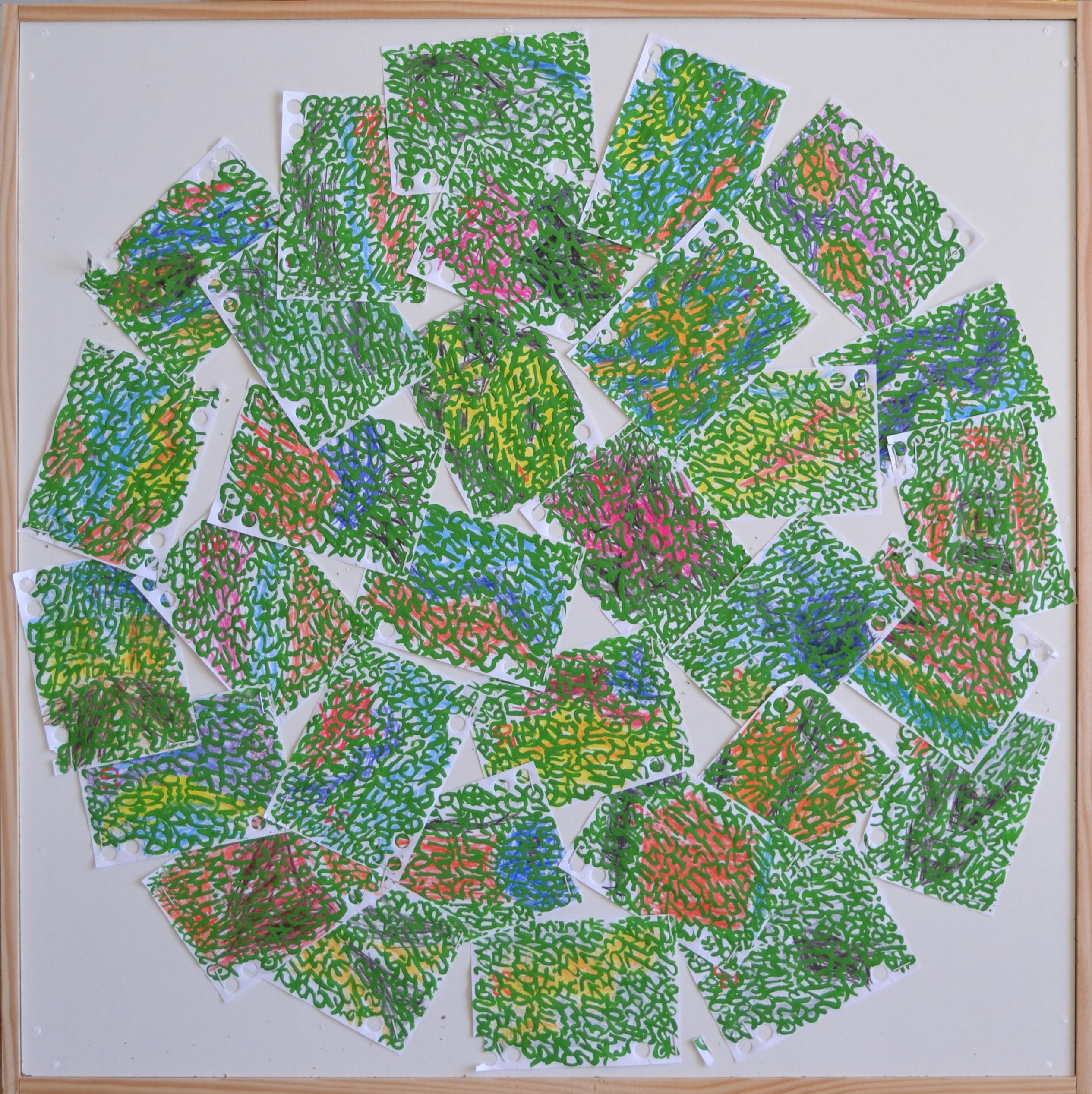 Mappemonde Ephéméride 2018, mois de Juillet, 7/12, crayons de couleur et acrylique sur papiers agrafés sur bois, 59 x 59 cm.