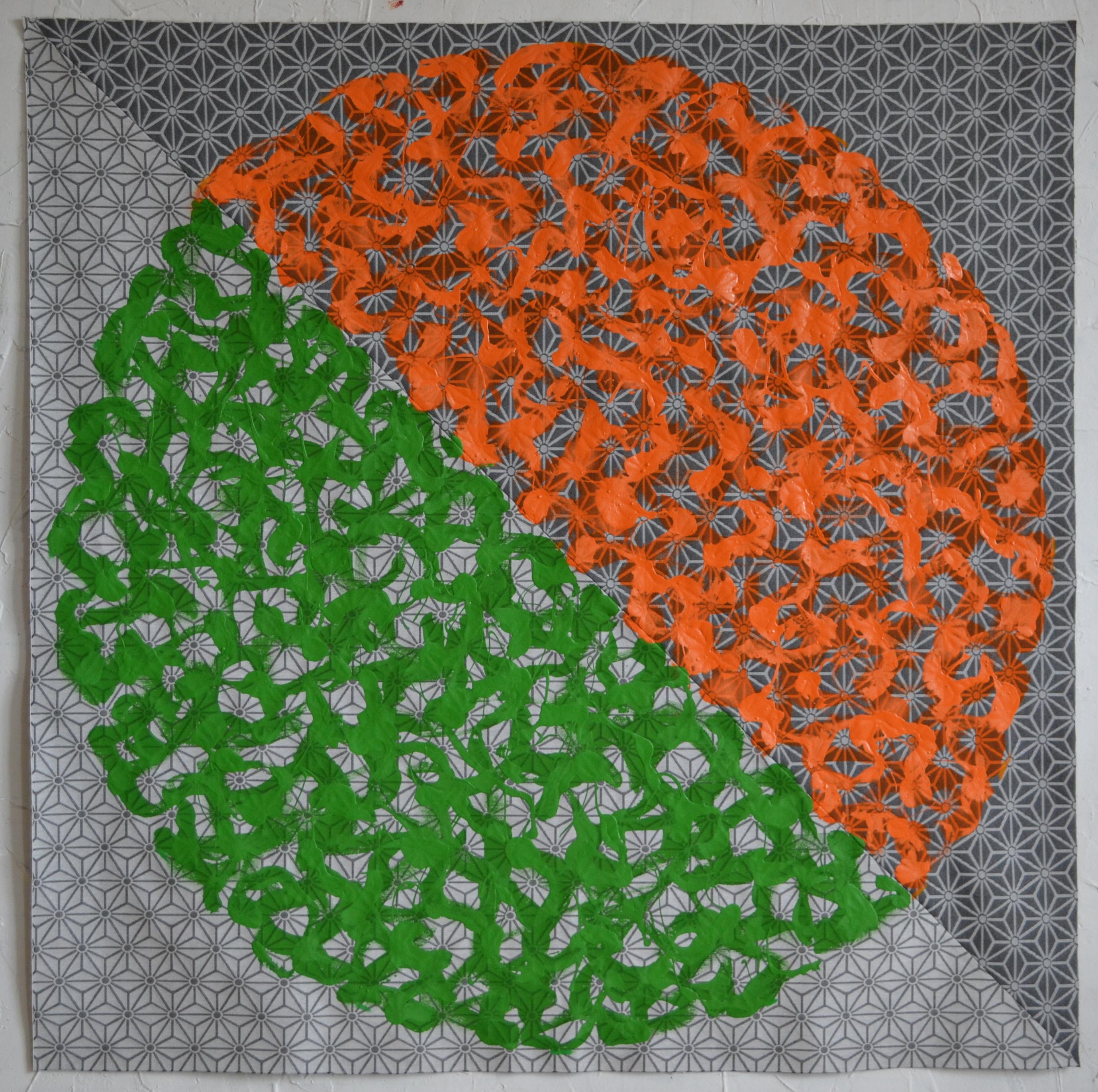 Mappemonde Peinture, acrylique sur tissu libre, 139 x 139 cm