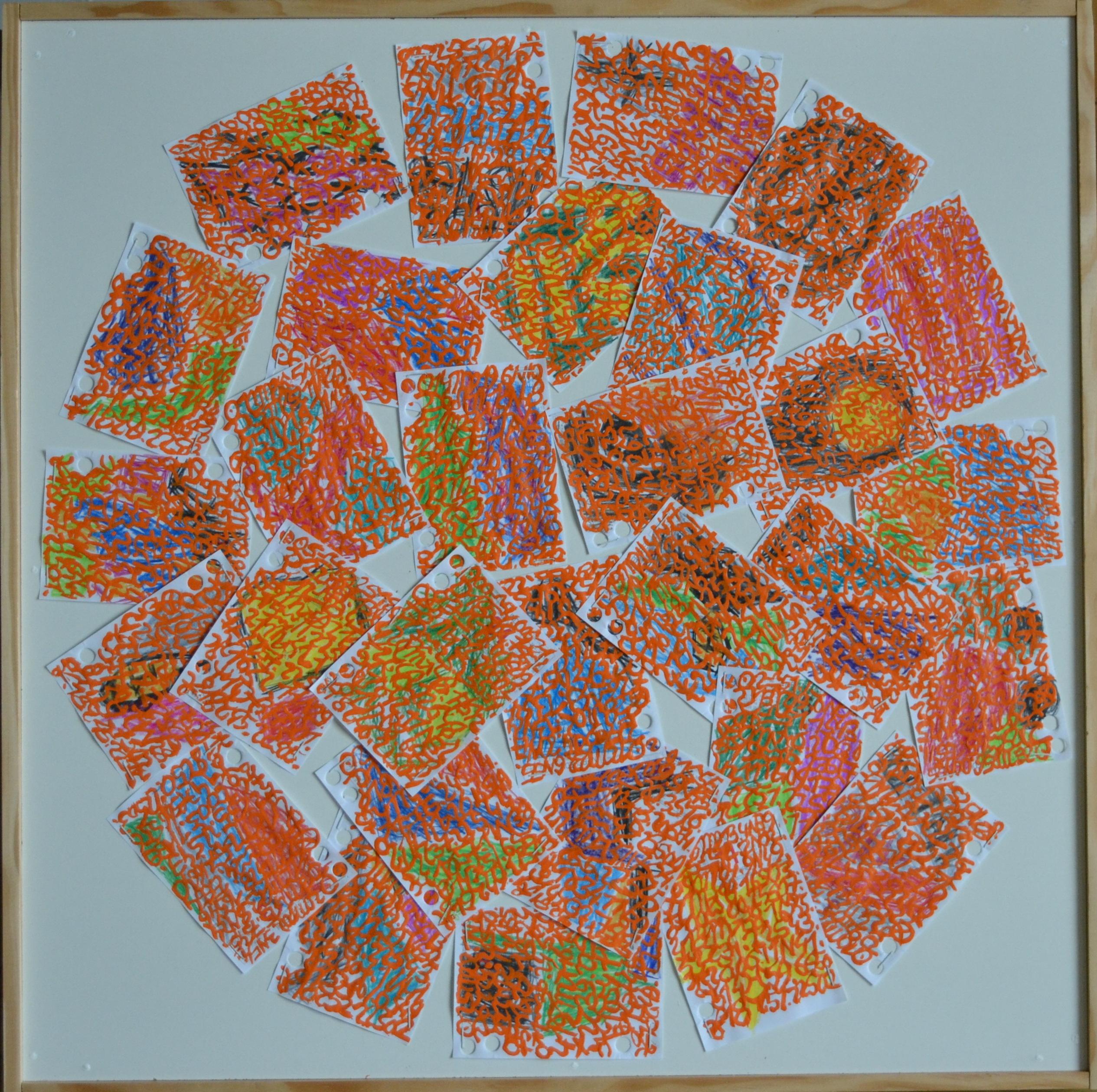 Mappemonde Ephéméride 2018, mois de Septembre, 9/12, crayons de couleur et acrylique sur papiers agrafés sur bois, 59 x 59 cm. Chaque jour, sur les feuilles 12 x 8 cm d