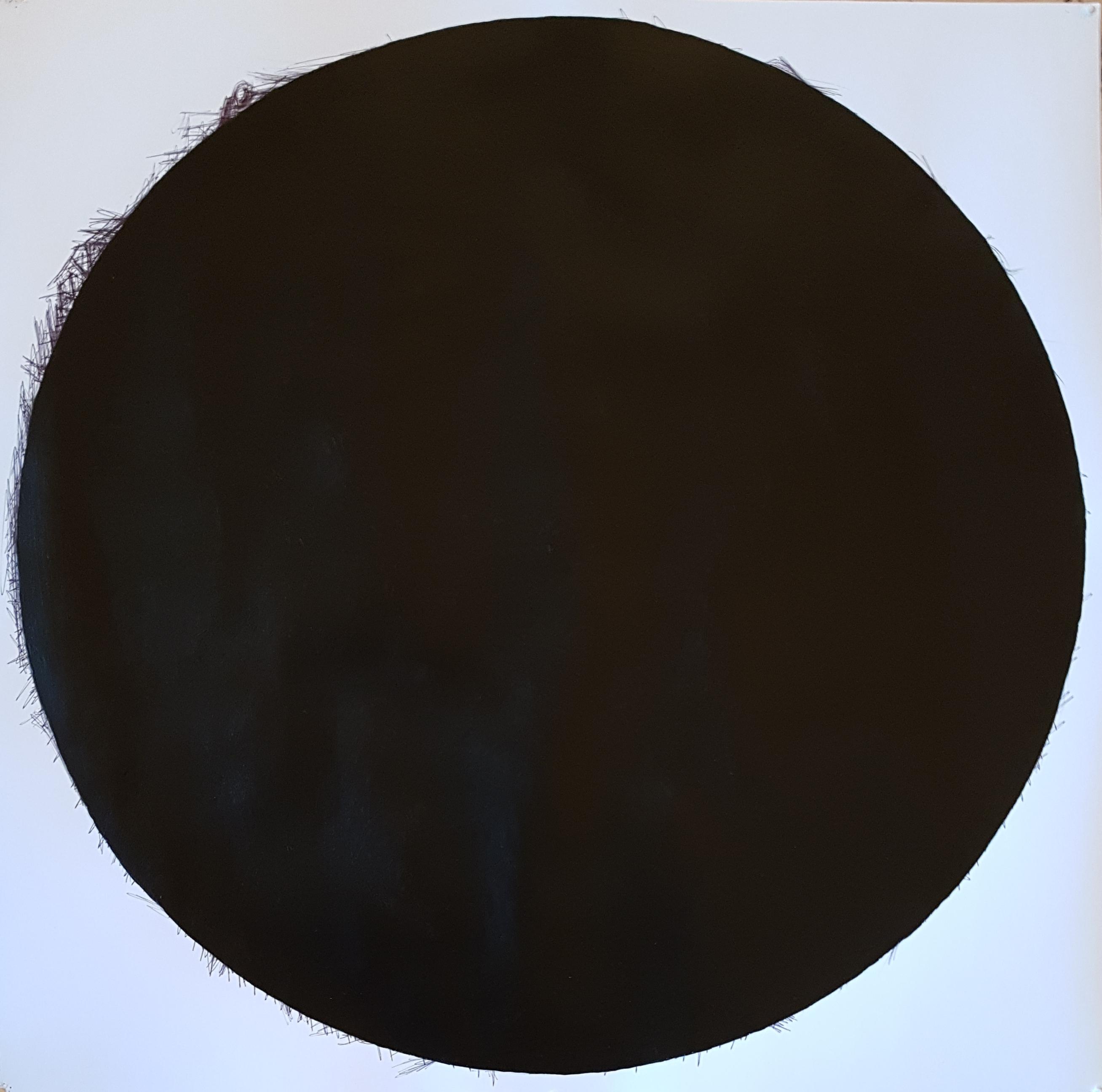 """Mappemonde Peinture, """"Notre-Dame de Paris 2019"""", stylo bille et acrylique sur papier, 71 x 71 cm. Sur un dessin réalisé au stylo bille noir représentant Notre-Dame de Paris, j"""