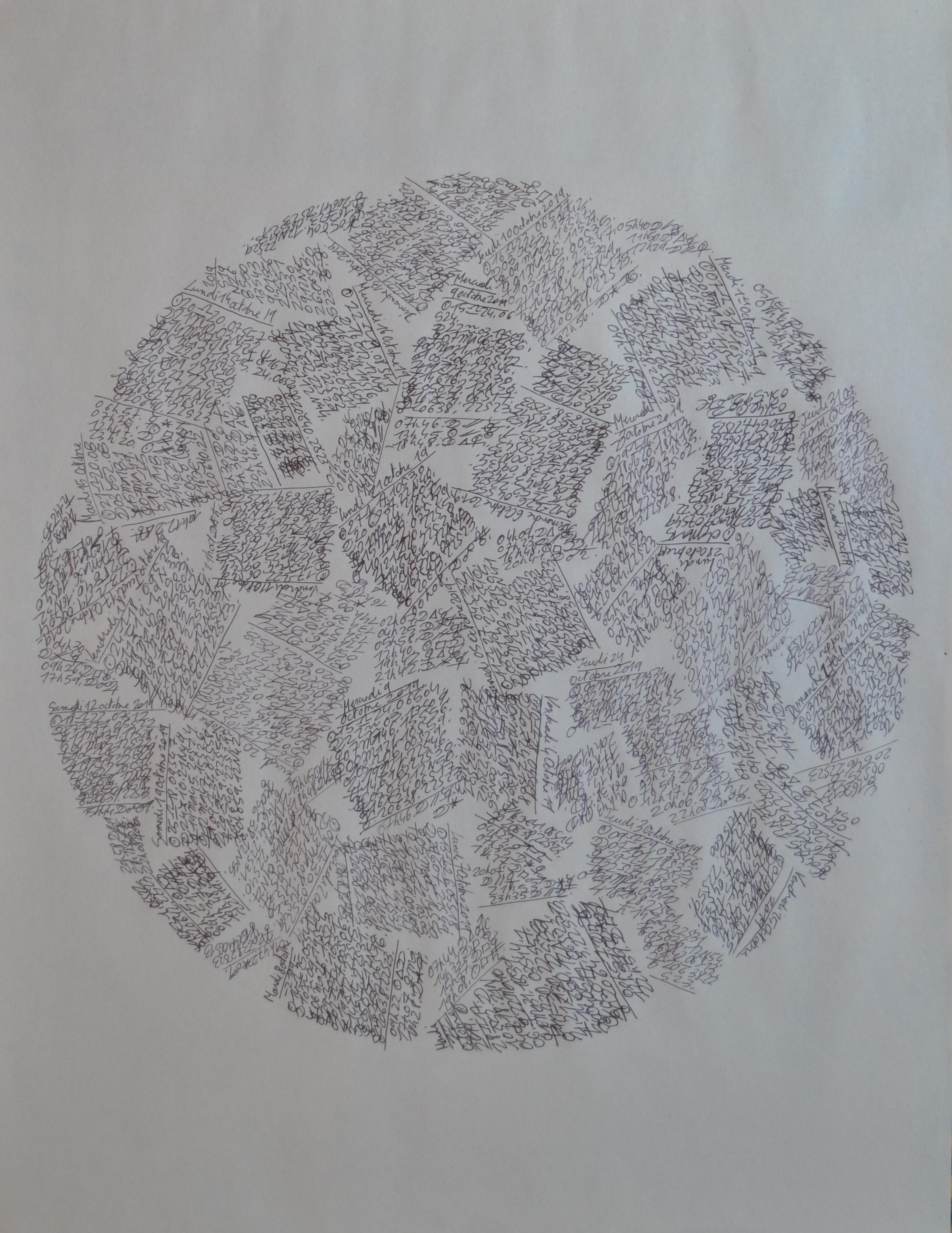 Mappemonde Ephéméride Octobre 2019, stylo bille sur papier journal vierge, 60 x 45 cm. Chaque jour du mois d
