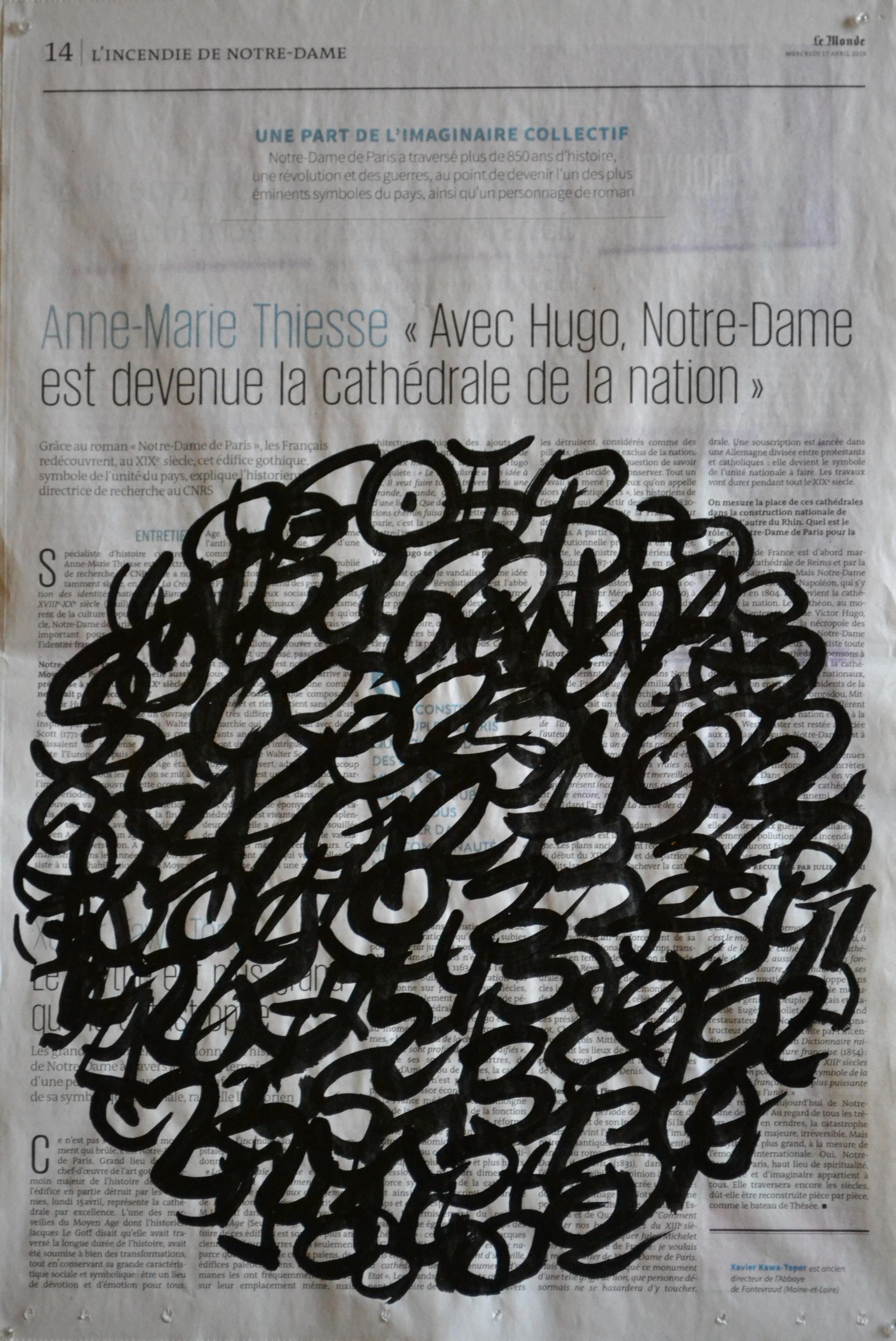 Mappemonde Encre 15.04.2019, encre de Chine sur papier journal, 47 x 31 cm. Notation de la position des planètes dans le ciel le jour de l