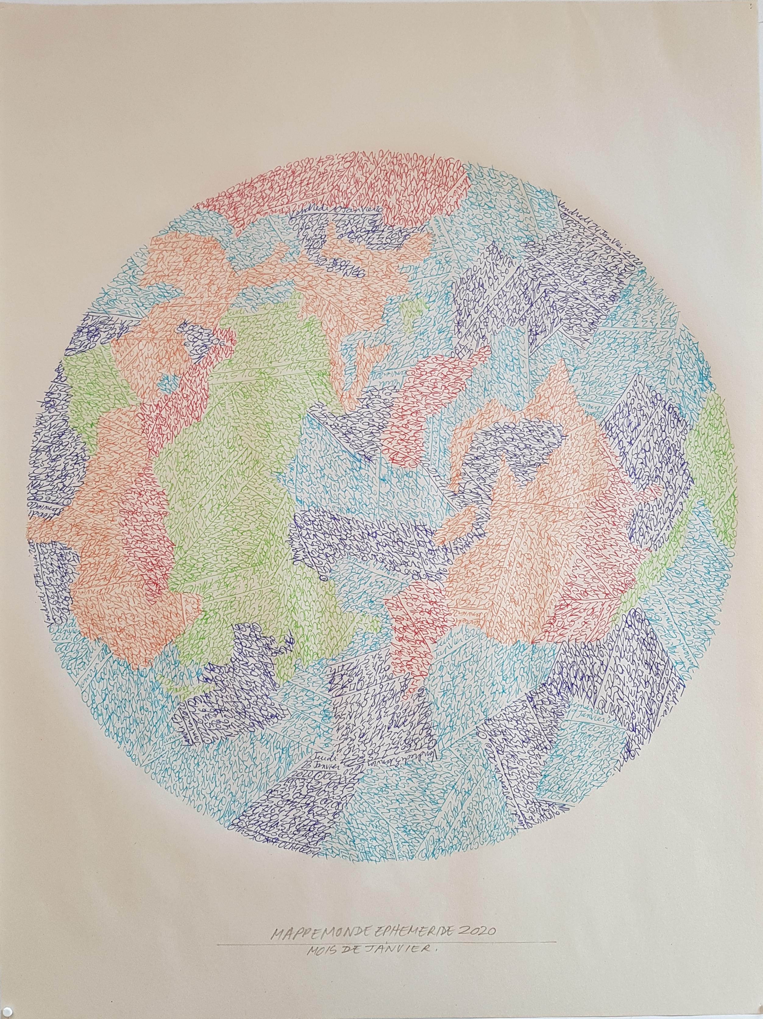 Mappemonde Ephéméride 2020, Le Pôle Nord, mois de Janvier, 1/12, stylo bille sur papier journal vierge, 60 x 45 cm. Représentation de Mappemonde par l