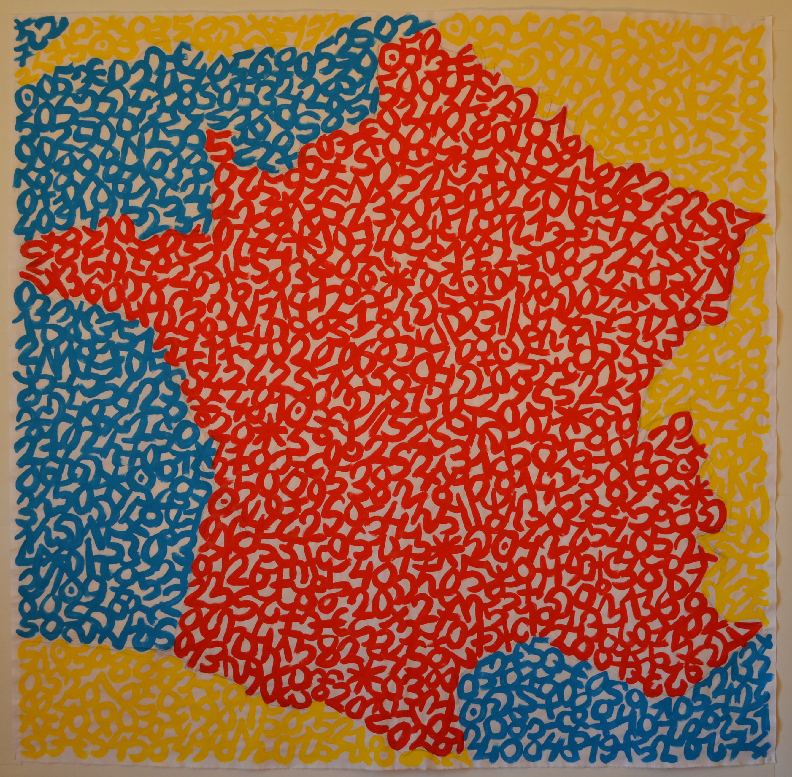 Mappemonde Peinture, La France, 25.02.2020, acrylique sur tissu libre, 151 x 151 cm. Représentation de la France par la notation de la position des planètes dans le ciel le 25 février 2020.