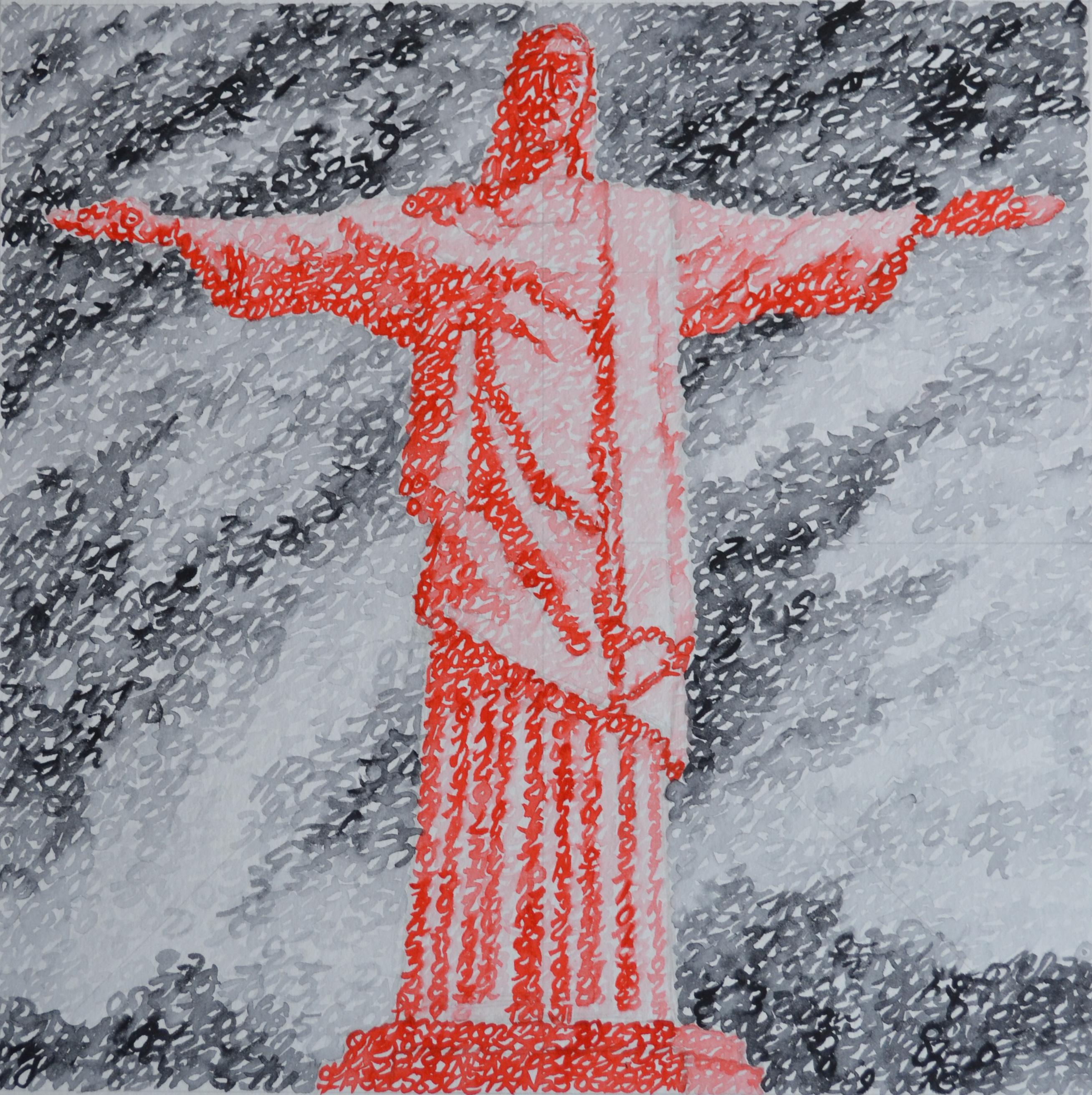 Covid-19, le Brésil, Rio de Janeiro, Christ Rédempteur, 03.08.2020, aquarelle sur papier, 33 x 33 cm. Représentation du Christ Rédempteur par la notation de position des planètes le 3 août 2020.