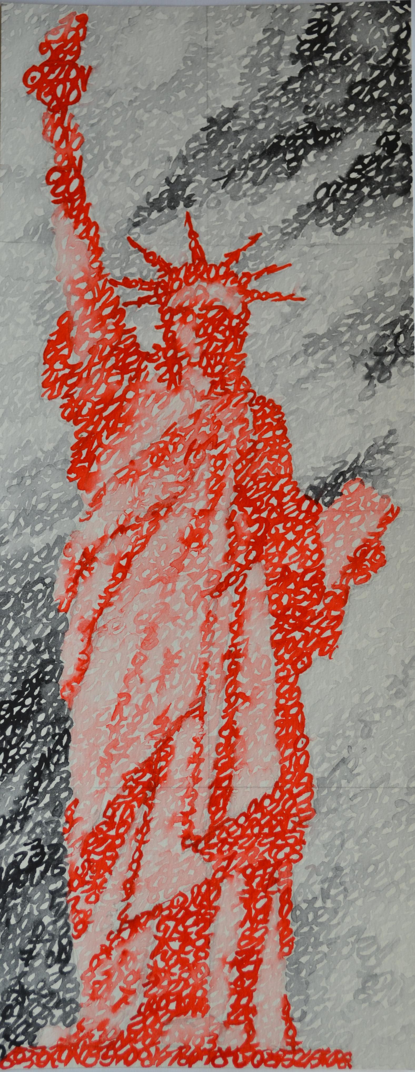 Covid-19, les U.S.A, New York, Statue de la Liberté, 22.07.2020, aquarelle sur papier, 44 x 17 cm. Représentation de la Statue de la Liberté par la notation de la position des planètes le 22 juillet 2020.