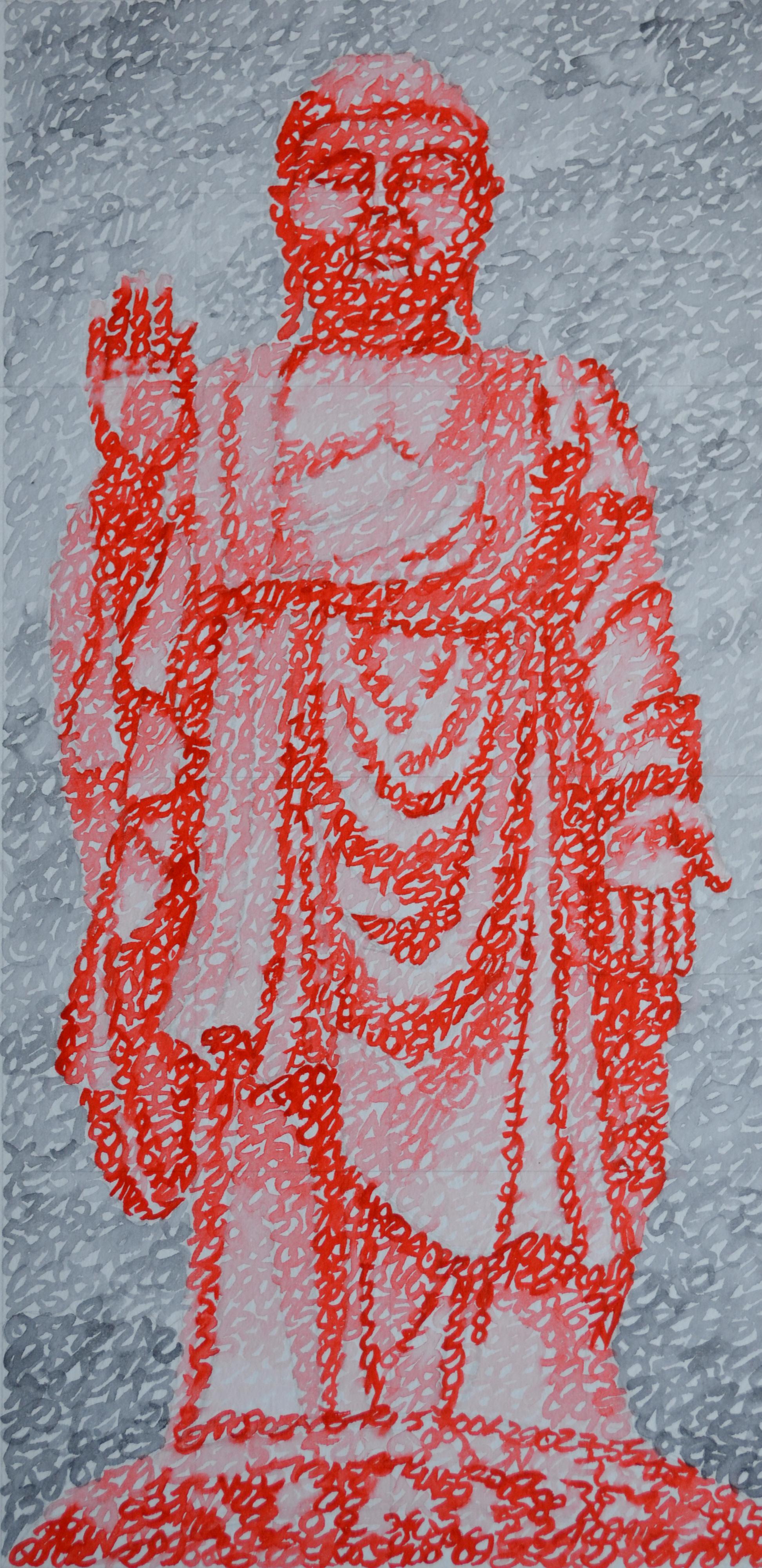 Covid-19, la Chine, Grand Bouddha de Ling Shan, 20.08.2020, aquarelle sur papier, 44 x 21 cm. Représentation du Bouddha de Ling Shan par la notation de la position des planètes le 20 août 2020.