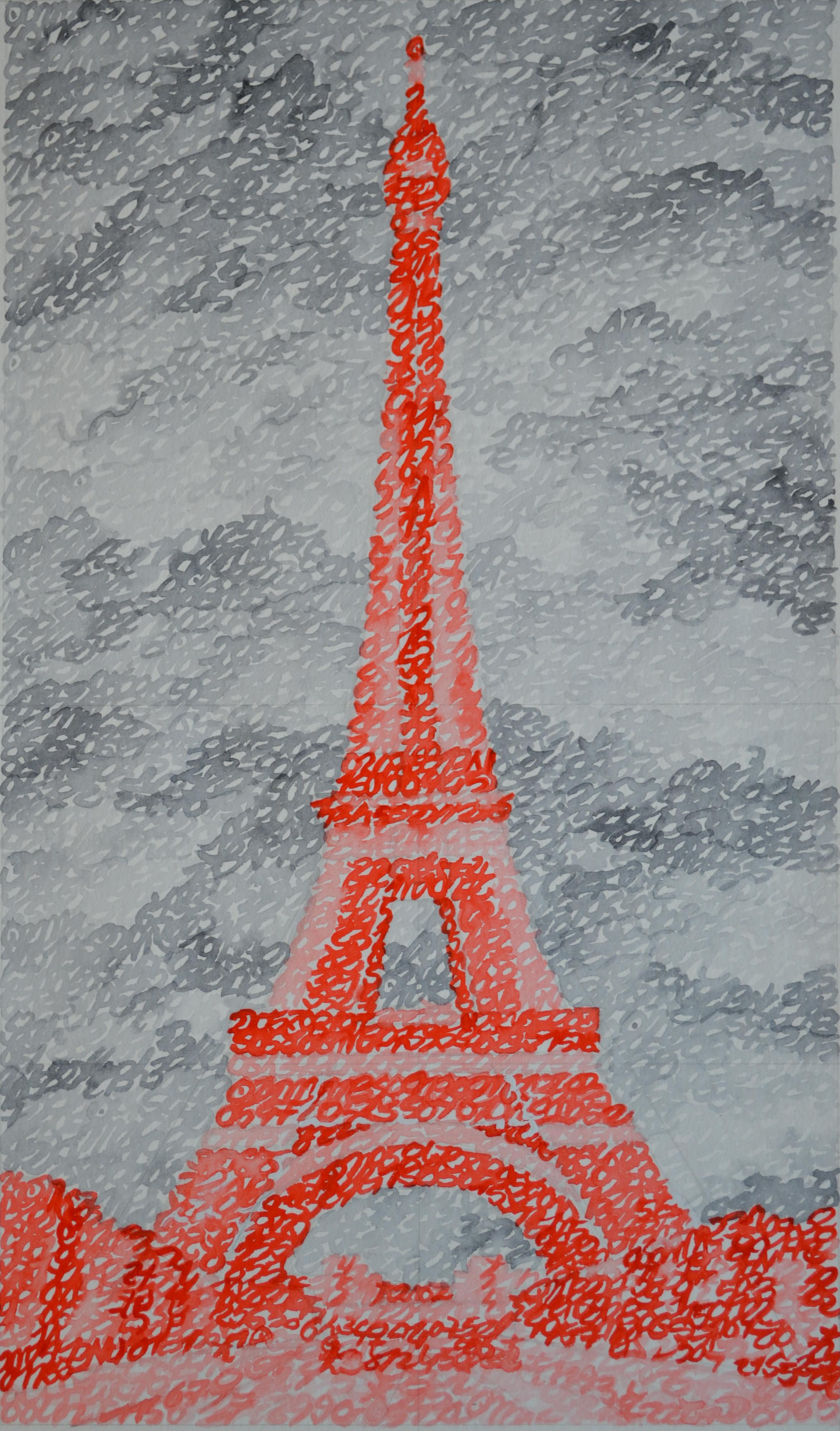 Covid-19, la France, Paris, Tour Eiffel, 16.11.2020, aquarelle sur papier, 44 x 26 cm. Représentation de la Tour Eiffel par la notation de la position des planètes le 16 novembre 2020.