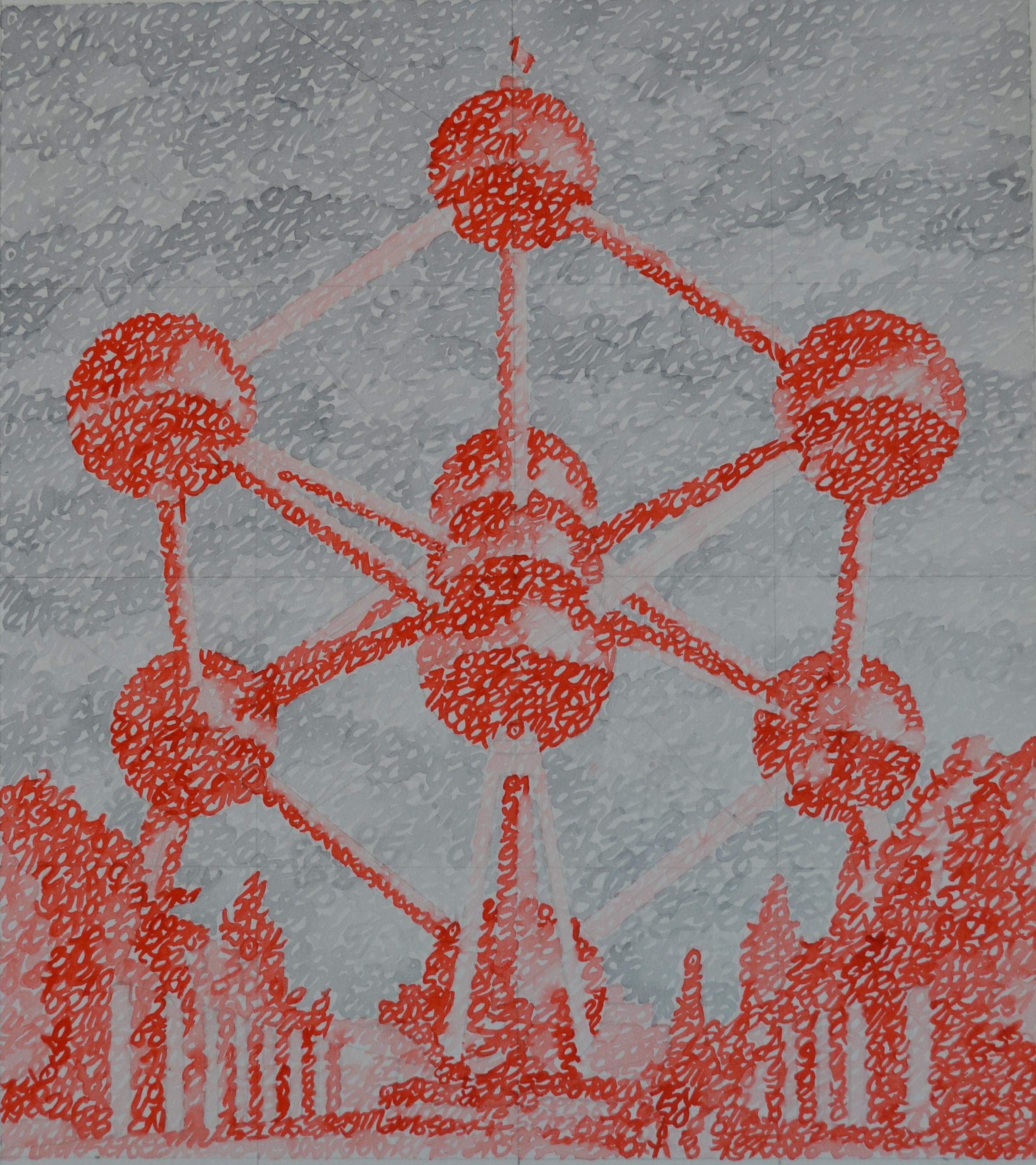 Covid-19, la Belgique, Bruxelles, Atomium, 07.12.2020, aquarelle sur papier, 37 x 33 cm. Représentation de l